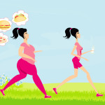 Young woman jogging,fat girl dreams of unhealthy eating, skinny